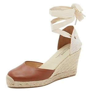 Soludos Tall Wedge Leather Espadrilles Heels Tan 9